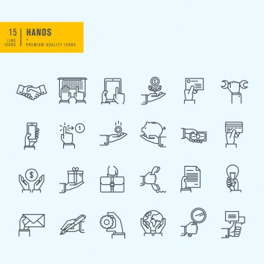 Thin line icons set stock vector