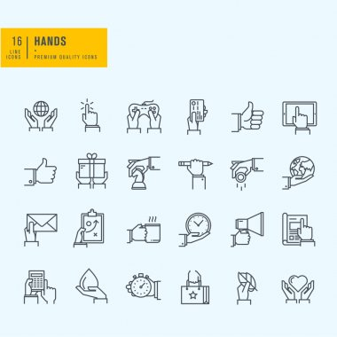 Thin line icons set. Icons of hand using devices, using money, in business situations, in design, ecology, marketing process.