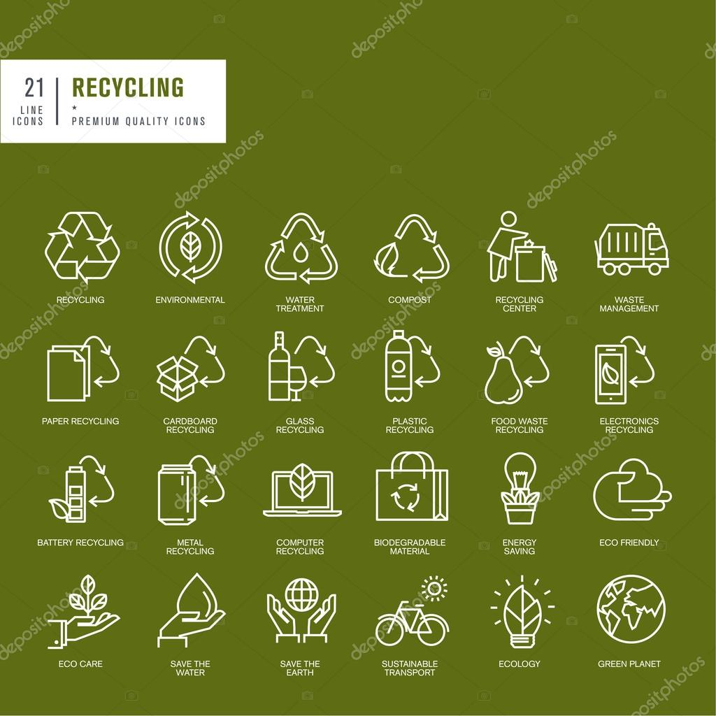 Set of thin line web icons for recycling