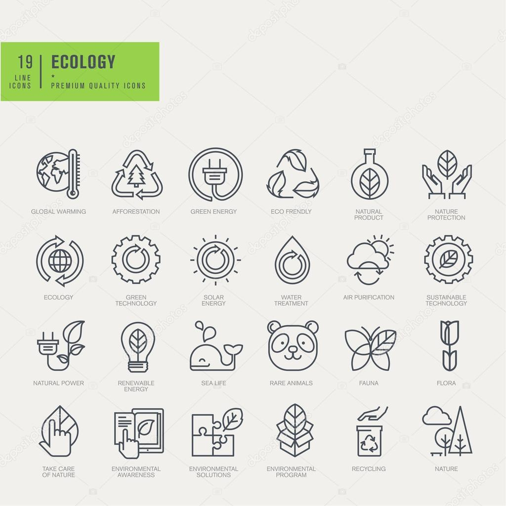 Thin line icons set. Icons for environmental, recycling, renewable energy, nature.