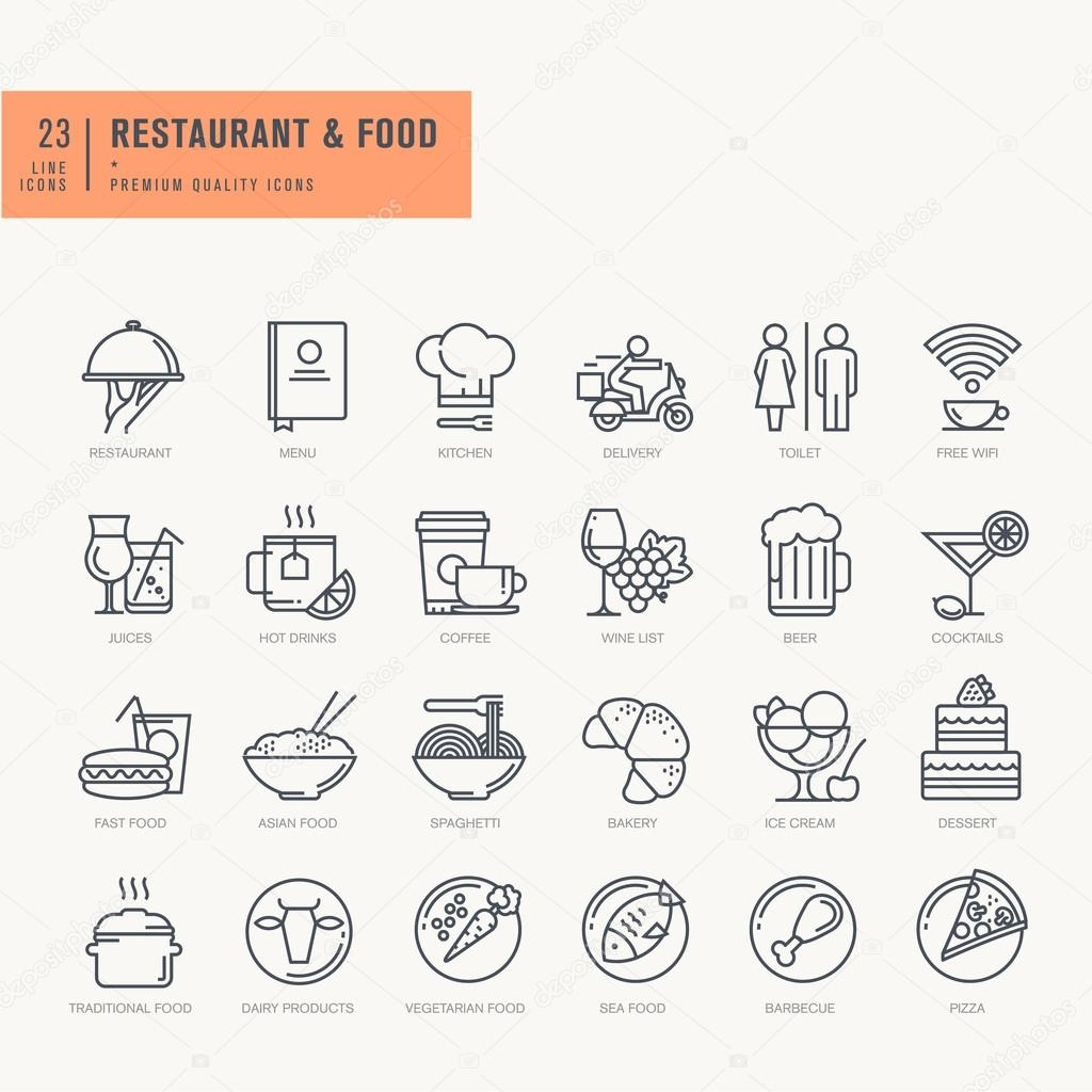 Thin line icons set. Icons for food and drink, restaurant, cafe and bar, food delivery.