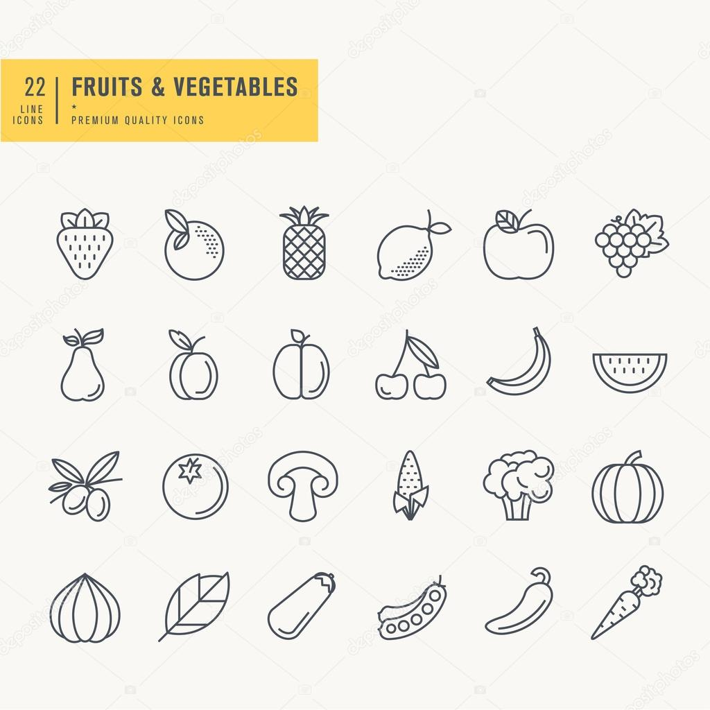 Thin line icons set. Icons for fruits and vegetables, food and drink.