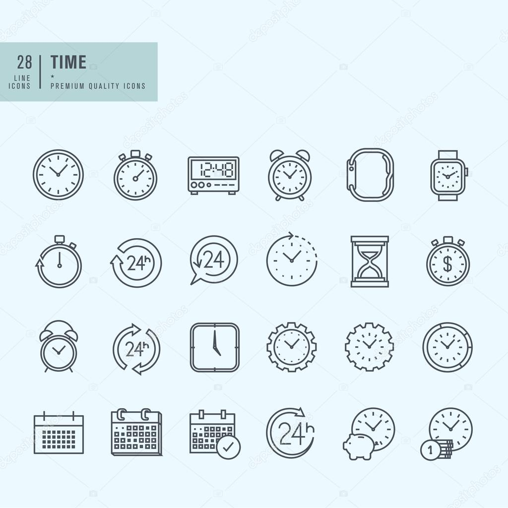 Thin line icons set. Icons for time and date.