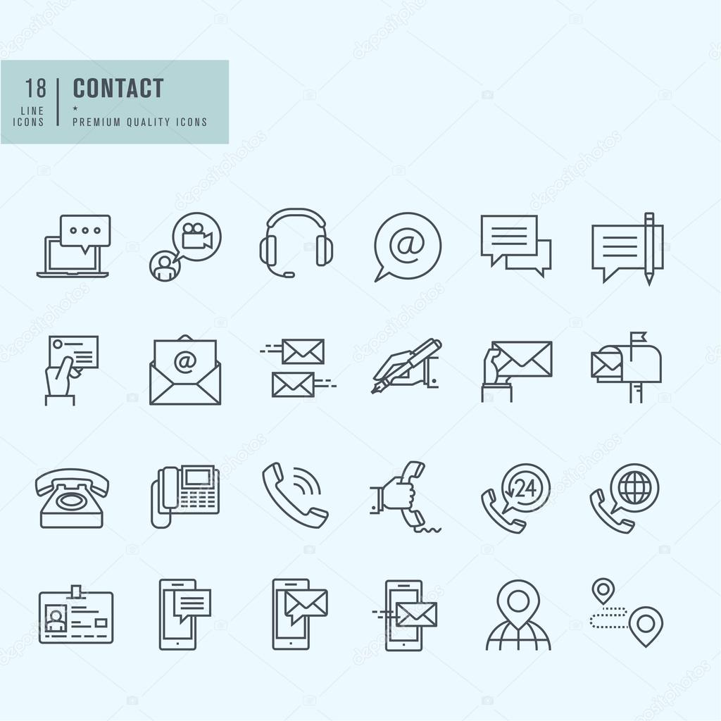 Thin line icons set. Icons for communication.