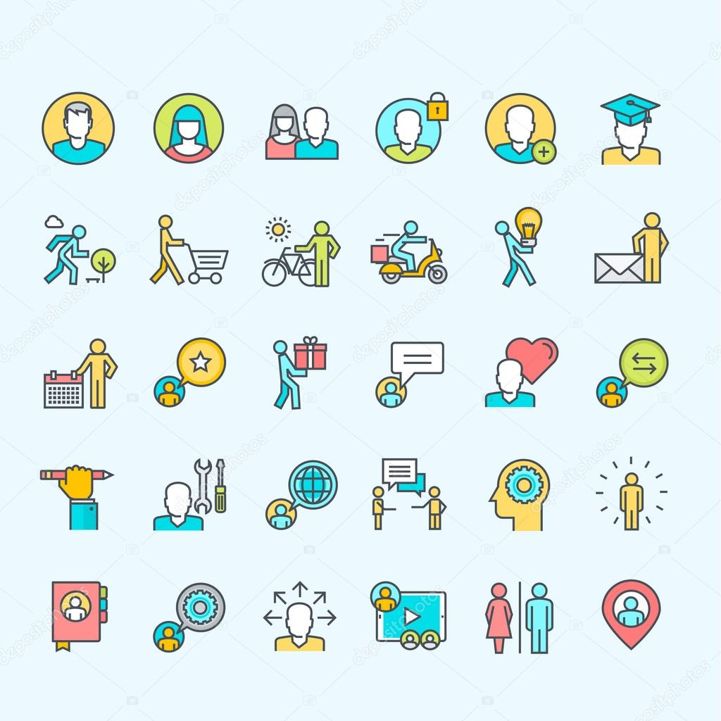 Set of line color people icons