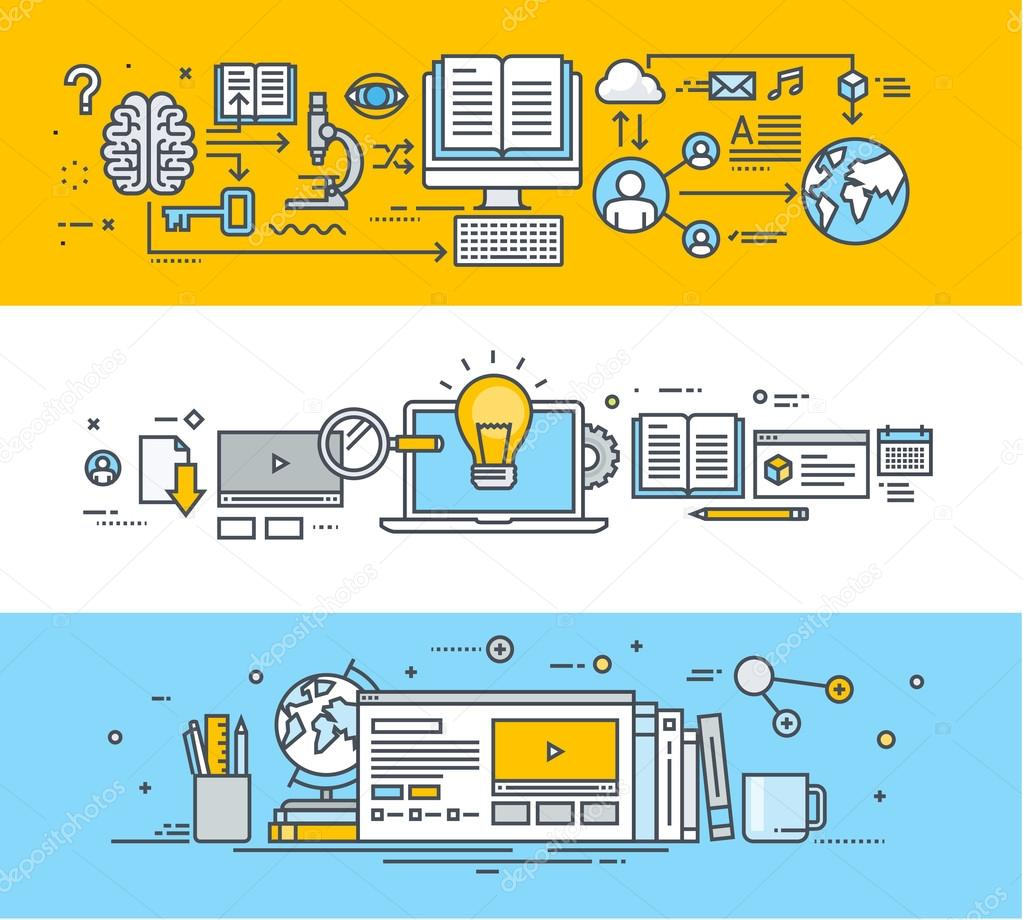 Thin line flat design banners for video tutorials, online training courses, online universities, online education