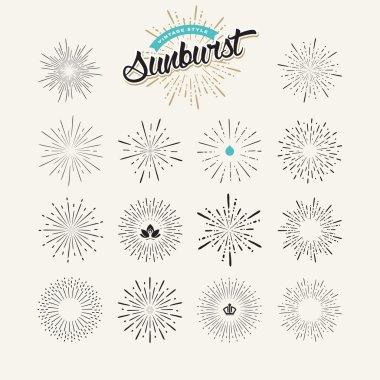 Collection of sunburst design elements