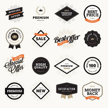 Set of vintage style premium quality badges and labels for designers.