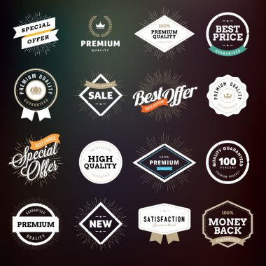 Collection of premium quality badges and labels
