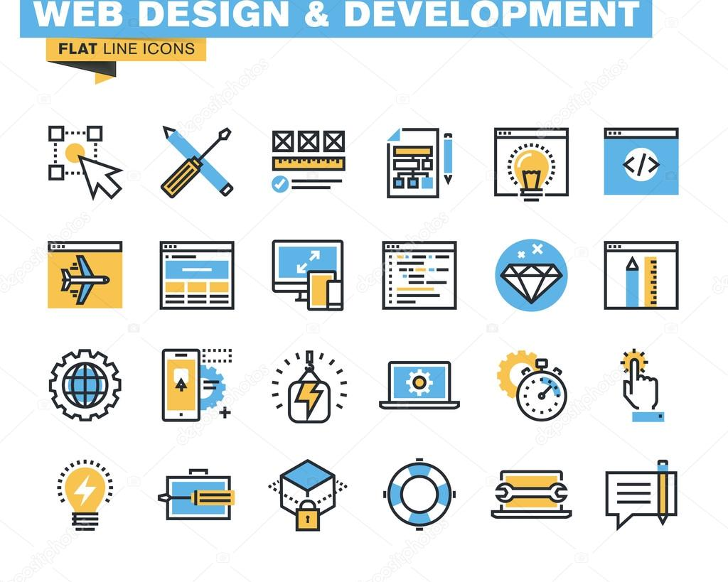 Trendy flat line icon pack for designers and developers