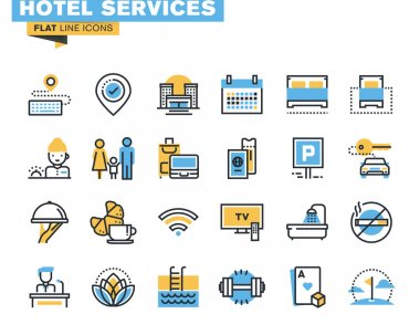Flat line icons set of major hotel service facilities, resort accommodation, motel facility and hostel amenities, online booking, sport and leisure activities, rent a car service, entertainment