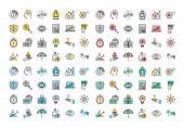 Barevné ikony kolekce rovné linie podnikání a finance