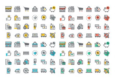 Flat line colorful icons collection of retail shopping activity