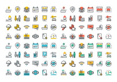 Flat line colorfull icons collection of hotel services