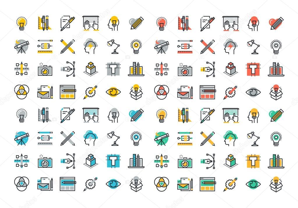 Colección de iconos de colores de línea plana de diseño gráfico y ...