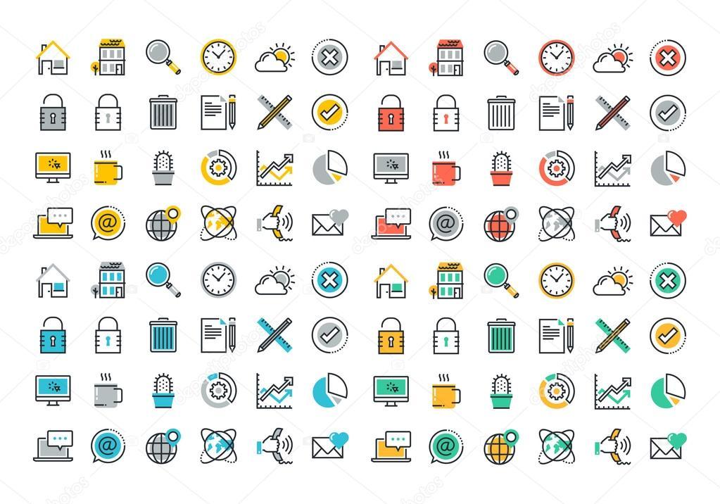 Colección de iconos de colores de línea plana de página ...