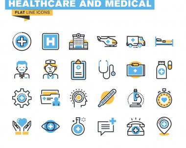Flat line icons set of health care and medicine theme, medical services, diagnosis and treatment, laboratory, clinic and hospital facilities