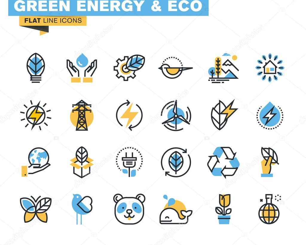 Flat line icons set of green technology, ecology, renewable energy, environment, natural life, nature protection