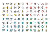 Flache Linie bunte Symbole Sammlung erneuerbarer Energien