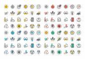Flache Linie bunte Symbole Sammlung von Recycling
