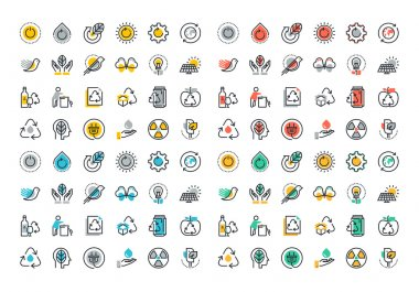 Flat line colorful icons collection of recycling