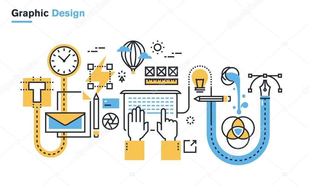 Flat line illustration of graphic design process, creative workflow, stationary design, logo design, branding, packaging design, corporate identity.