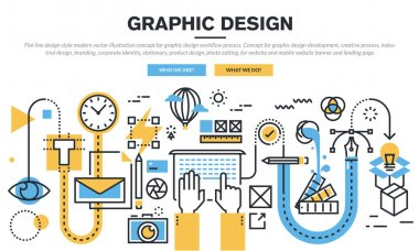 Flat line design concept for graphic design workflow process