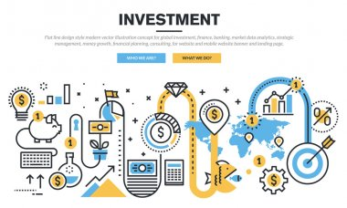 Flat line design concept for global investment