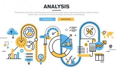 Flat line design vector illustration concept for business graph statistics, data analysis, global seo analytics, financial research report, market stats, for website banner and landing page. stock vector