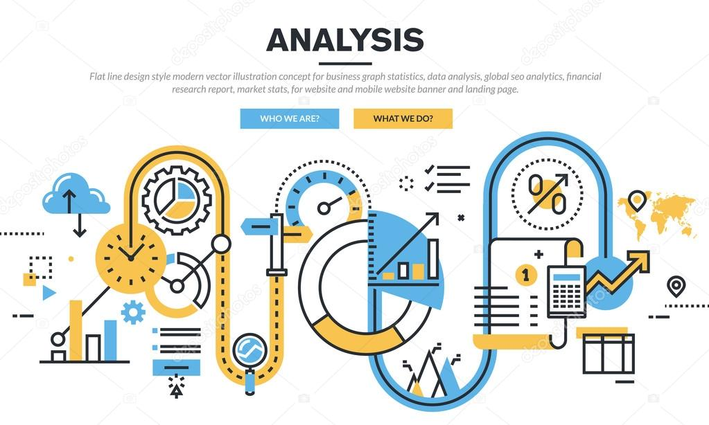 Flat line design vector illustration concept for business