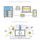Fotografia Concetti di illustrazione vettoriale design linea piatta per grandi quantità di dati e reti base dati, condivisione di cartelle di rete, analisi database, server di database, tecnologia di rete, per banner sito