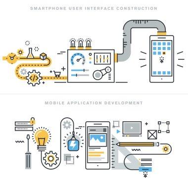 Flat line concepts for mobile website design and development, mobile application development, responsive design, programming, seo, smartphone user interface construction, for website banners.