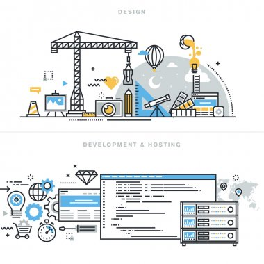 Flat line design vector illustration concepts for graphic design, freelancers and design agencies, website and app design and development, hosting, ssl.