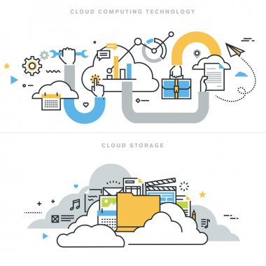 Flat line design vector illustration concepts for cloud computing technology, cloud storage, cloud solutions, security and availability.