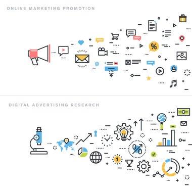 Flat line design vector illustration concepts for online marketing promotion, digital advertising research, market research, internet marketing, e-commerce.