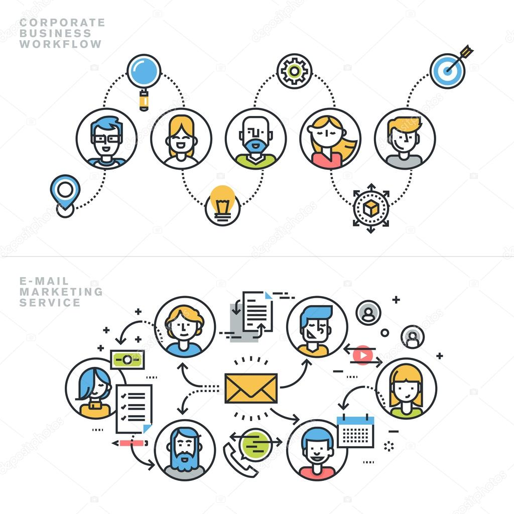 Flat line design concepts for corporate business workflow, company profile, teamwork, email marketing service, newsletter, customer relationship management.