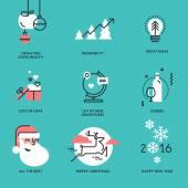 Fotografie Sada plochých linie designu vánoční a novoroční známky