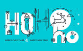 Rovná čára design vektorové ilustrace Vánoce a nový rok