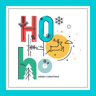 Flat line design Christmas greeting card