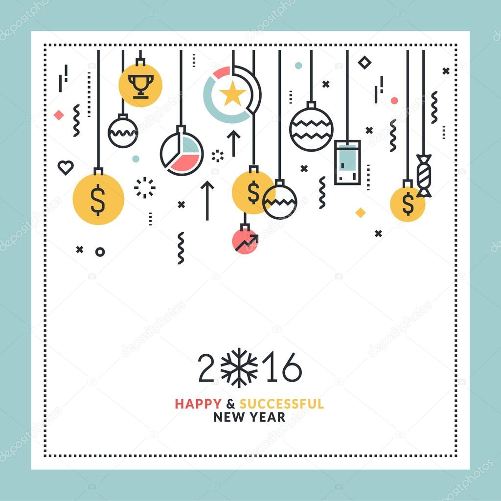 Business New Year's flat line design greeting card