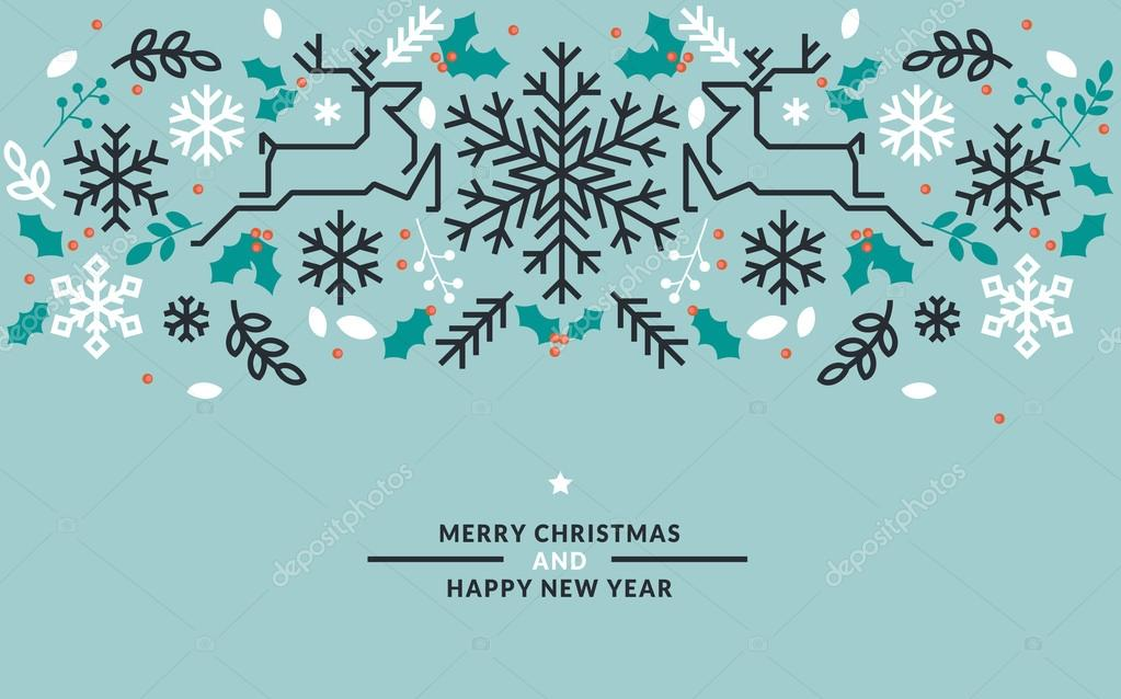 Flat line design Christmas and New Year vector illustration