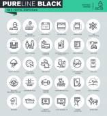 Fotografie Dünne Linie Symbole Festlegen der Hotelservices und Ausstattung, online Buchung, Reiseinformationen. Symbole für Webseite und mobile Website und apps mit bearbeitbaren Schlaganfall