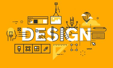 Thin line flat design banner of graphic design solutions