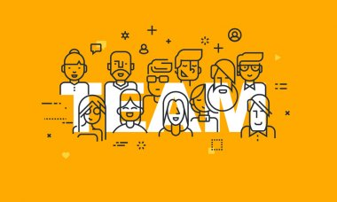 Thin line flat design banner of business people teamwork, human resources, career opportunities, team skills, management