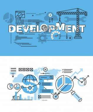 Set of modern vector illustration concepts for website and app development and SEO