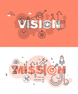 Set of modern vector illustration concepts of words vision and mission. Thin line flat design banners for website and mobile website, easy to use and highly customizable. stock vector