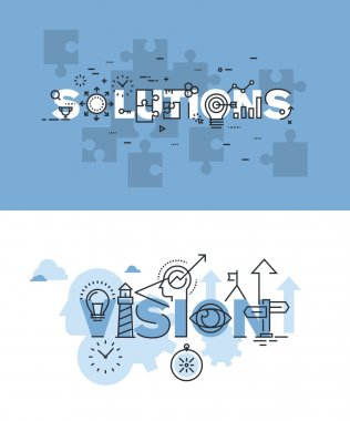 Set of modern vector illustration concepts of words solutions and vision