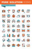 Fotografie Dünne Linie Web Icons für Reisen und Tourismus, Hotelausstattung, online Buchung, für Websites und mobile Websites und apps