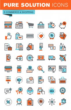 Thin line web icons for e-commerce, m-commerce, online shopping and payment, for websites and mobile websites and apps.