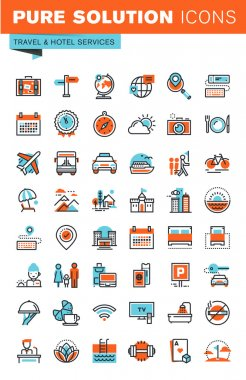 Thin line web icons for travel and tourism, hotel facilities, online booking, for websites and mobile websites and apps.